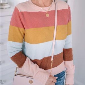 Halogen Multi Stripe Crew Neck Sweater